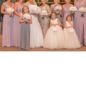 David's Bridal Dresses - David's Bridal LONG MESH DRESS WITH CORDED LACE